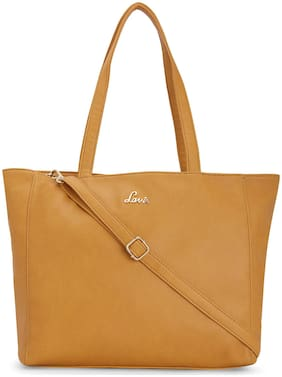 LAVIE Women Solid PU - Tote Bag Yellow