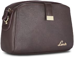 LAVIE Brown Synthetic Solid Sling Bag