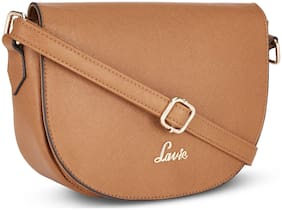 LAVIE Tan Synthetic Solid Sling Bag