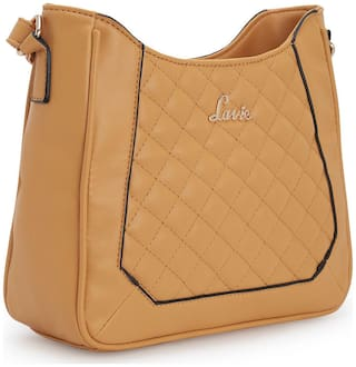 LAVIE Yellow Synthetic Solid Sling Bag