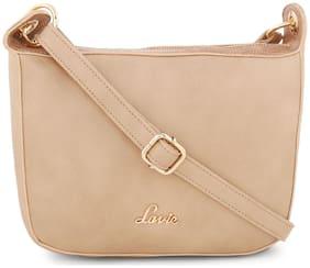 LAVIE Beige PU Solid Sling Bag