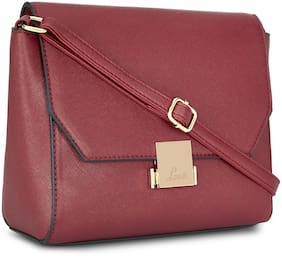 LAVIE Women Solid Synthetic - Sling Bag Maroon