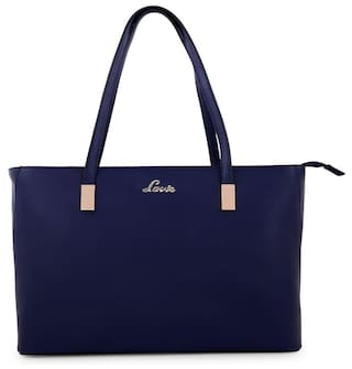 LAVIE Women Solid Faux Leather - Tote Bag Blue