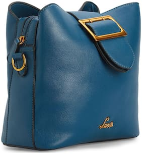 LAVIE Blue Synthetic Solid Sling Bag