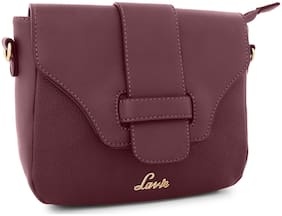 LAVIE Purple Synthetic Solid Sling Bag