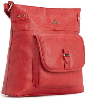 LAVIE Red Synthetic Solid Sling Bag