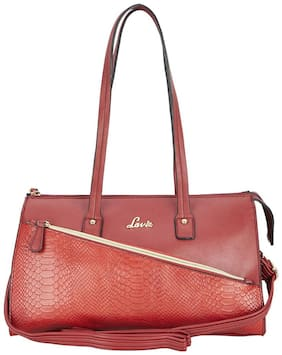 LAVIE Red Faux Leather Handheld Bag