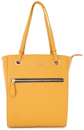 LAVIE Women Solid Faux leather - Tote Bag Yellow