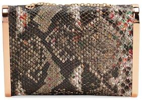Kazo Women Solid Faux Leather - Clutch Grey