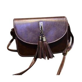 Leather Tassels Crossbody Women Handbag Satchel Messenger Bag Brown