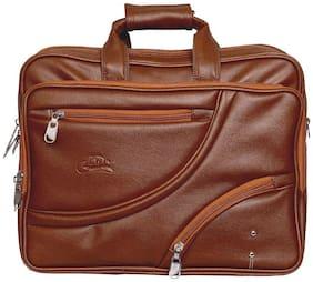Leather World 12.8 ltr Tan Pu Laptop messenger bag