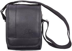 Leather World Black Faux leather Messenger bag & Sling bag