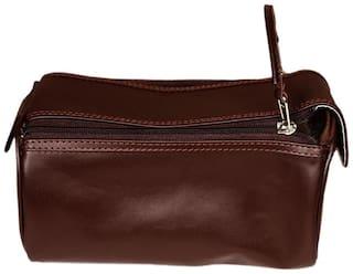 Leather World Trendy Brown Genuine Leather Kit Shaving Kit Makeup Kit Toiletry Bag Travel Accessory Organizer