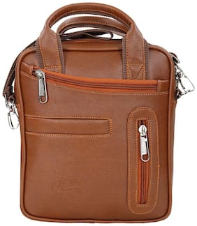 Leather World Tan Faux leather Sling bag