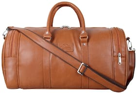 Leather World Tan Travel Duffle Luggage Bag
