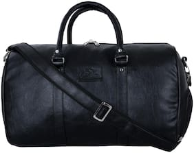 Leather World PU Leather Travel Duffel Bag Gym Bag Sports Bag with Shoe Compartment (Black)