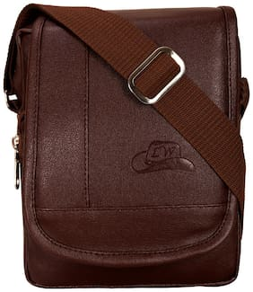 Leather World Brown Faux leather Messenger bag & Sling bag