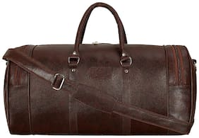 Leather World Brown Travel Duffle Luggage Bag