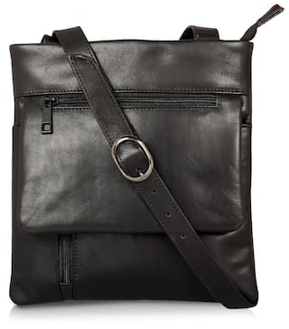 22e27cbe01ab Buy Leather Zentrum Women Leather Sling Bag - Black Online at Low ...