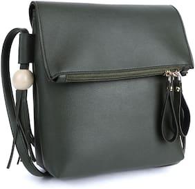 Leatherstile Olive Faux Leather Solid Sling Bag