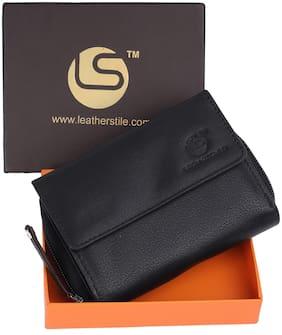Leatherstile Women Black Leather Wallet
