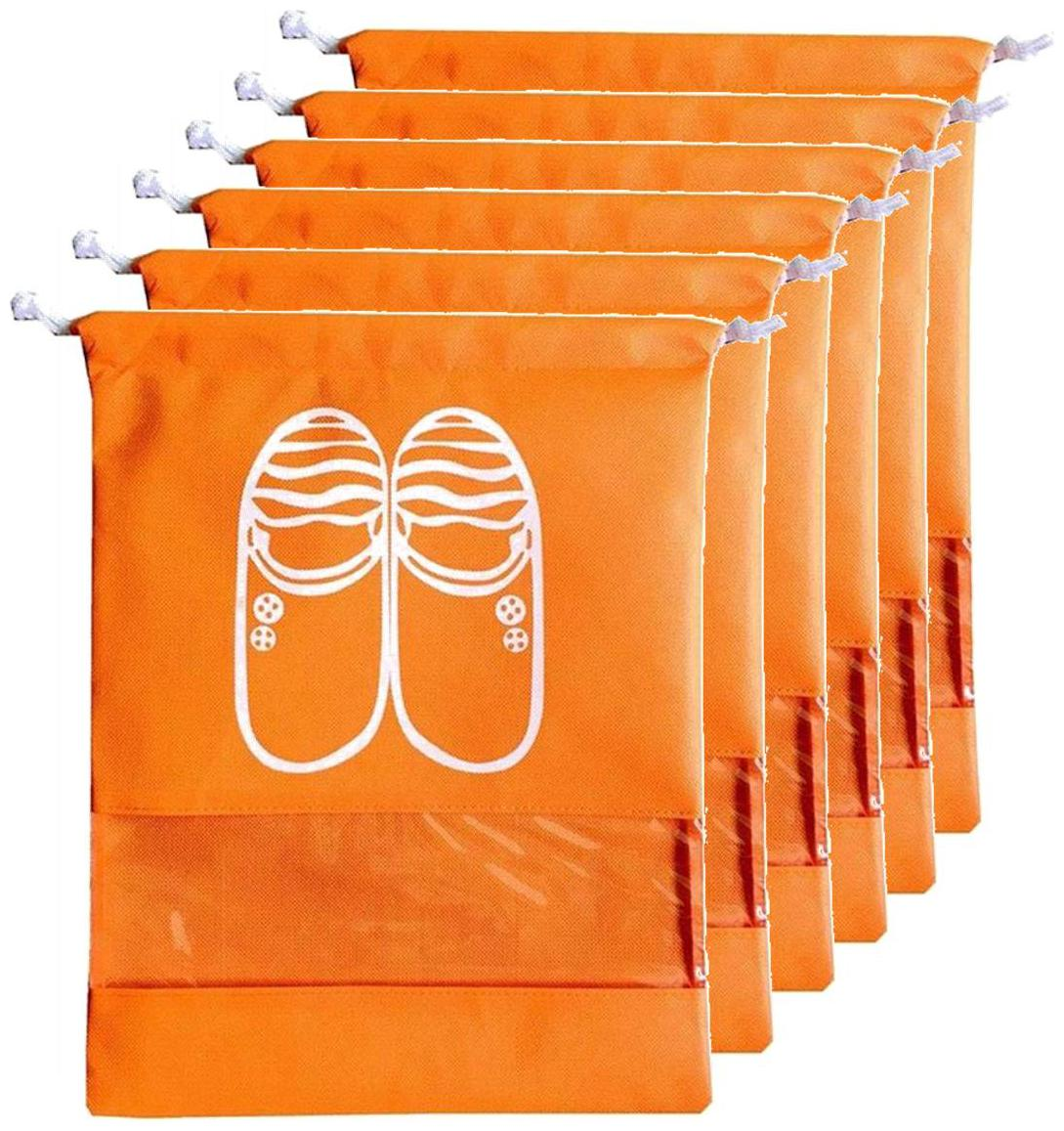 Lify Travel Shoe Bags,Portable Travel Shoe Tote Bags   Packing Organizers For Men And Women  Orange   6 Piece Pack