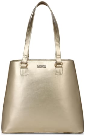 Truffle Collection Women Solid PU - Tote Bag Gold