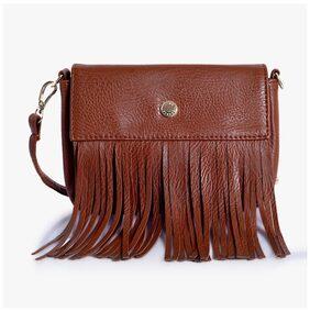 Lino Perros Women Leather Sling Bag - Brown
