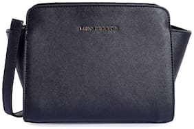 Lino Perros Women Solid Leather - Sling bag Black