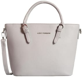 Lino Perros Faux Leather Women Satchel - Grey