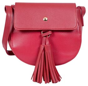 Lino Perros Women Solid Leather - Sling Bag Red