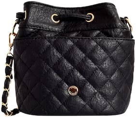 Lino Perros Women Solid Faux Leather - Sling bag Black