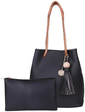Lino Perros Women Faux Leather Hobo Bag - Black