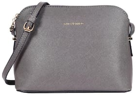 Lino Perros Women Solid Leather - Sling bag Grey