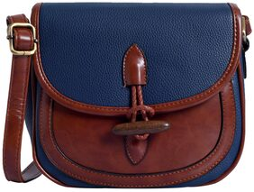 Lino Perros Women Solid Faux Leather - Sling Bag Blue