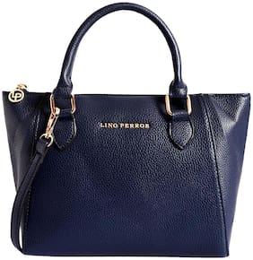 Lino Perros Women Faux Leather Satchel - Blue