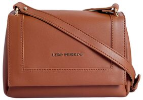 Lino Perros Women Faux Leather Sling Bag - Tan
