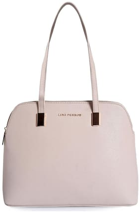 Lino Perros Faux Leather Women Satchel - Beige