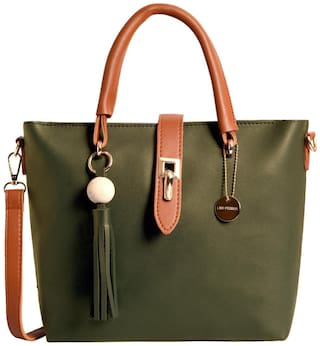 Lino Perros Faux Leather Women Satchel - Green