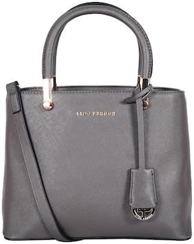Lino Perros Faux Leather Women Satchel - Grey