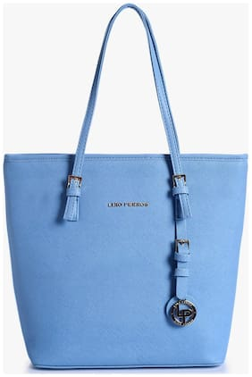 Lino Perros Women Solid Faux Leather - Tote Bag Blue
