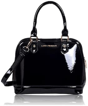 Lino Perros Faux Leather Women Handheld bag - Black With Women Lino Perros Wallet FREE