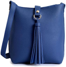 Lino Perros Women Faux Leather Hobo Bag - Blue