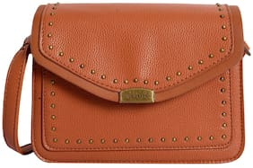 Lino Perros Women Solid Faux Leather - Sling bag Tan