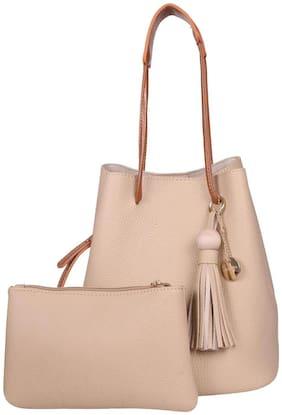 Lino Perros Women Faux Leather Hobo Bag - Beige