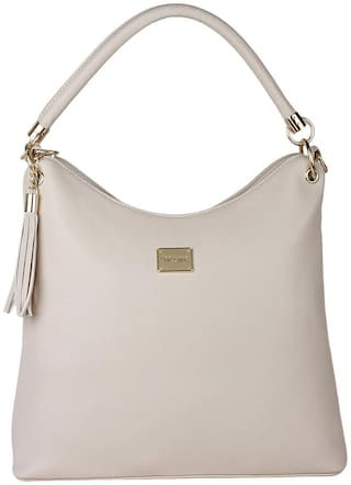 Lino Perros Faux Leather Women Satchel - Beige With Women Lino Perros Wallet FREE