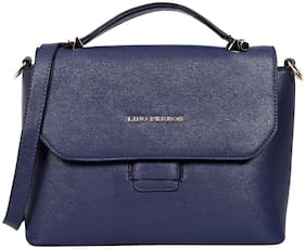 Lino Perros Faux Leather Women Satchel - Blue
