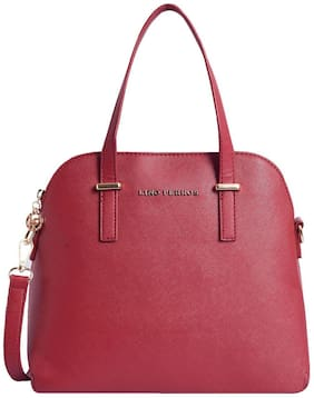 Lino Perros Faux Leather Women Satchel - Red