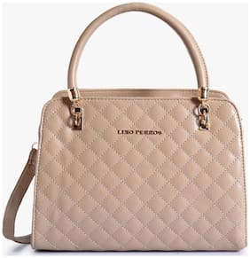 Lino Perros Faux Leather Women Handheld bag - Beige With Women Lino Perros Wallet FREE