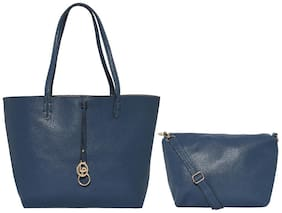 Lino Perros Blue Womens Hand Bag With Pouch